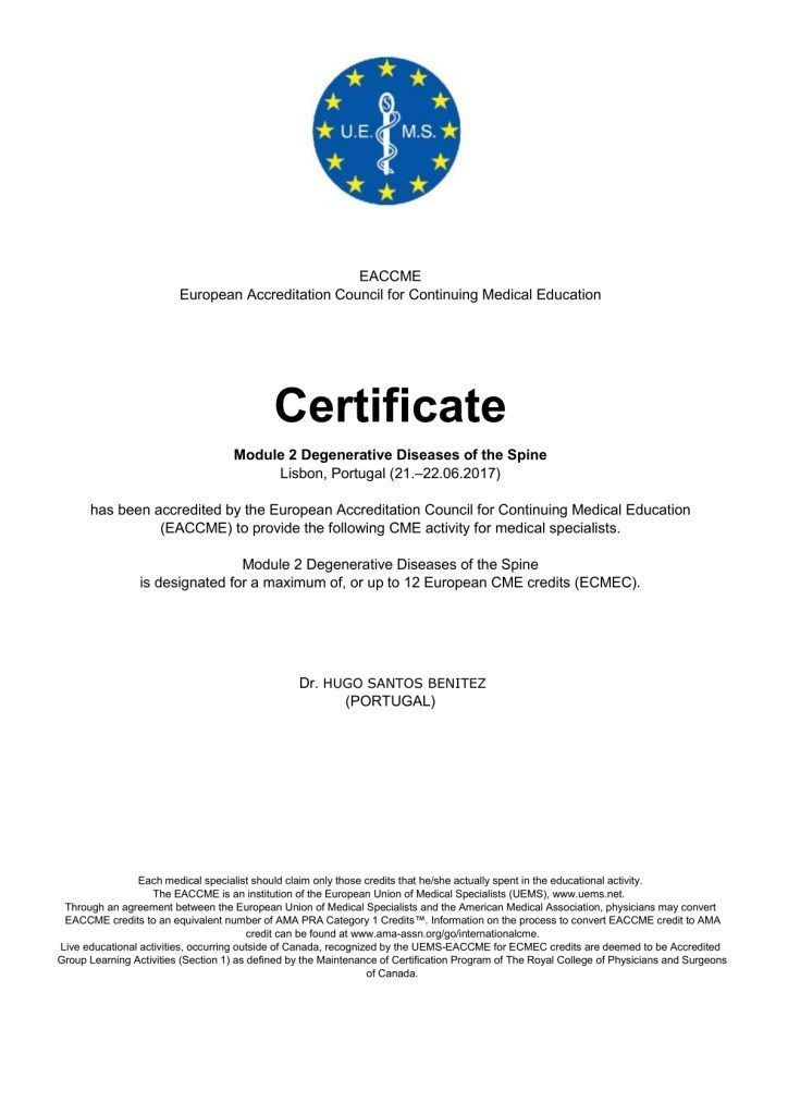 EACCME_CERTIFICATE_Module_2_Degenerative_Diseases_of_the_Spine_Hugo_Santos_Benitez