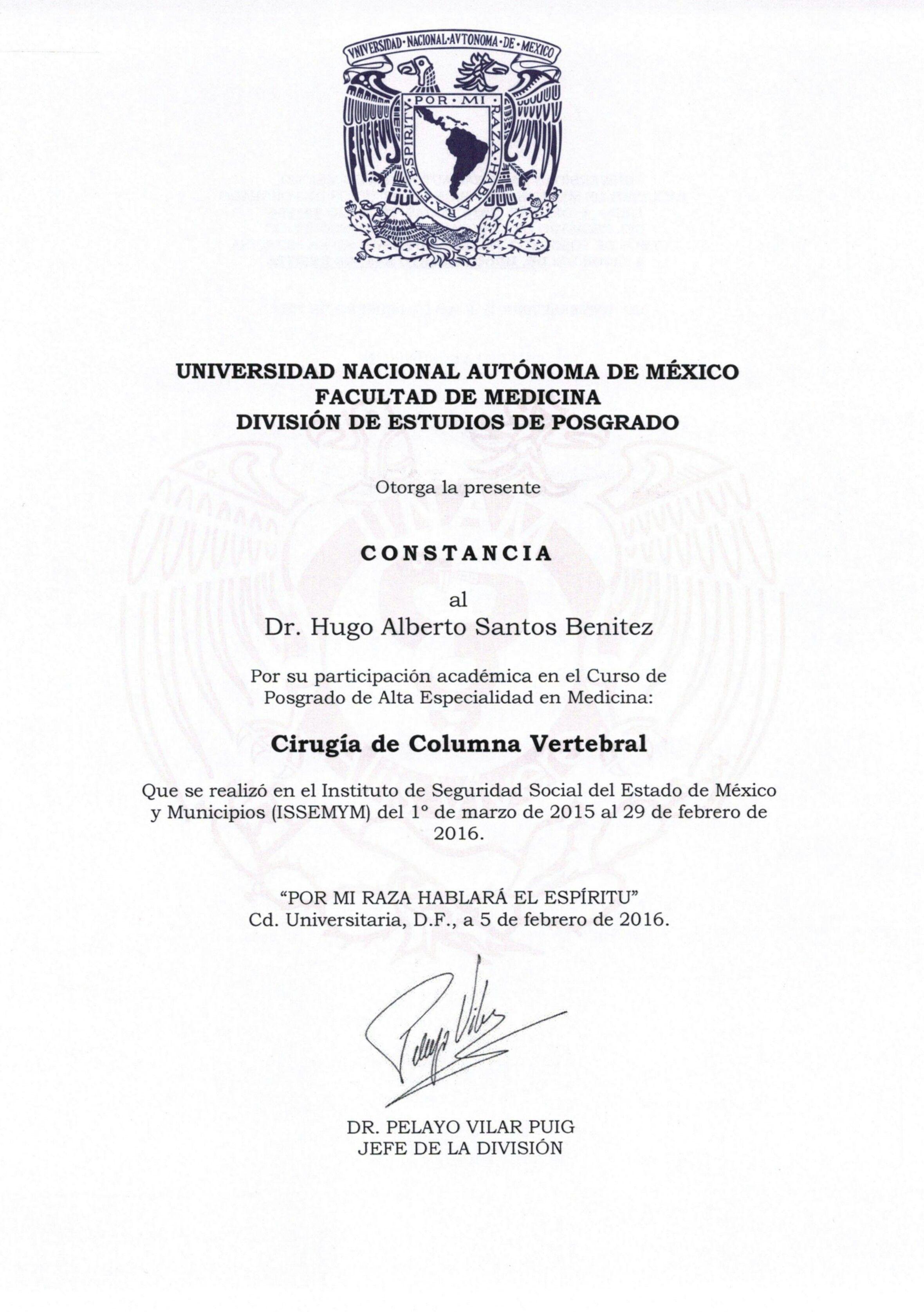 Certificado Unam Doctor Hugo Santos Benitez