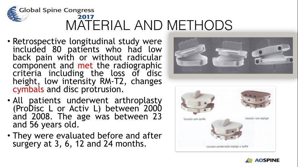 EFFICACY AND SAFETY OF LUMBAR ARTHROPLASTY IN DEGENERATIVE DISC DISEASE.004