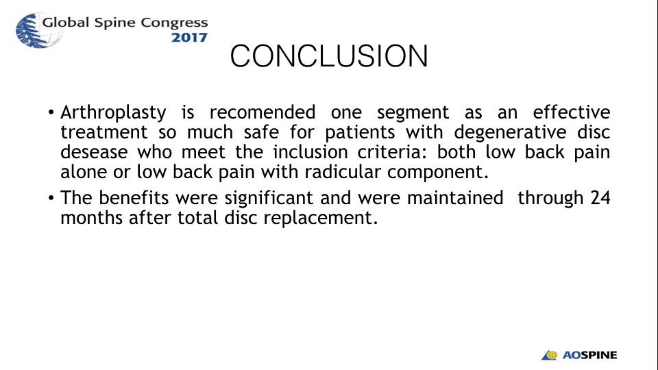 EFFICACY AND SAFETY OF LUMBAR ARTHROPLASTY IN DEGENERATIVE DISC DISEASE.012