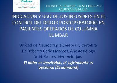 Indicación y uso de los infusores en el control del dolor postoperatorio en pacientes operados de columna lumbar