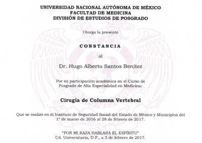 Diploma Curso de Posgrado: Cirugía de Columna Vertebral